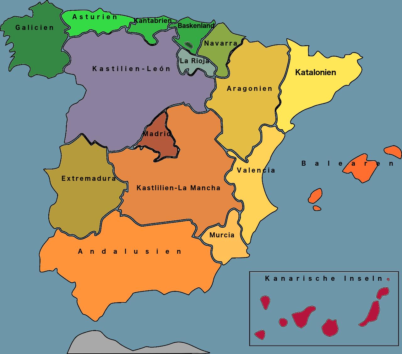 Spanien Karte Regionen.Spanien